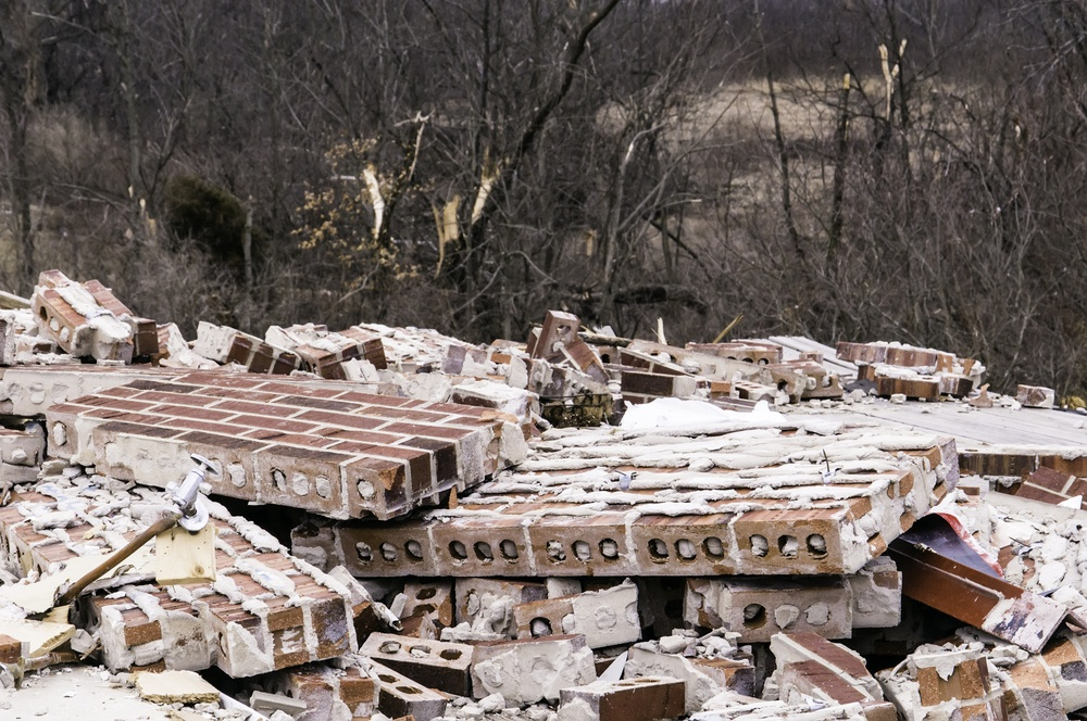 Pile of rubble from a search and rescue mission