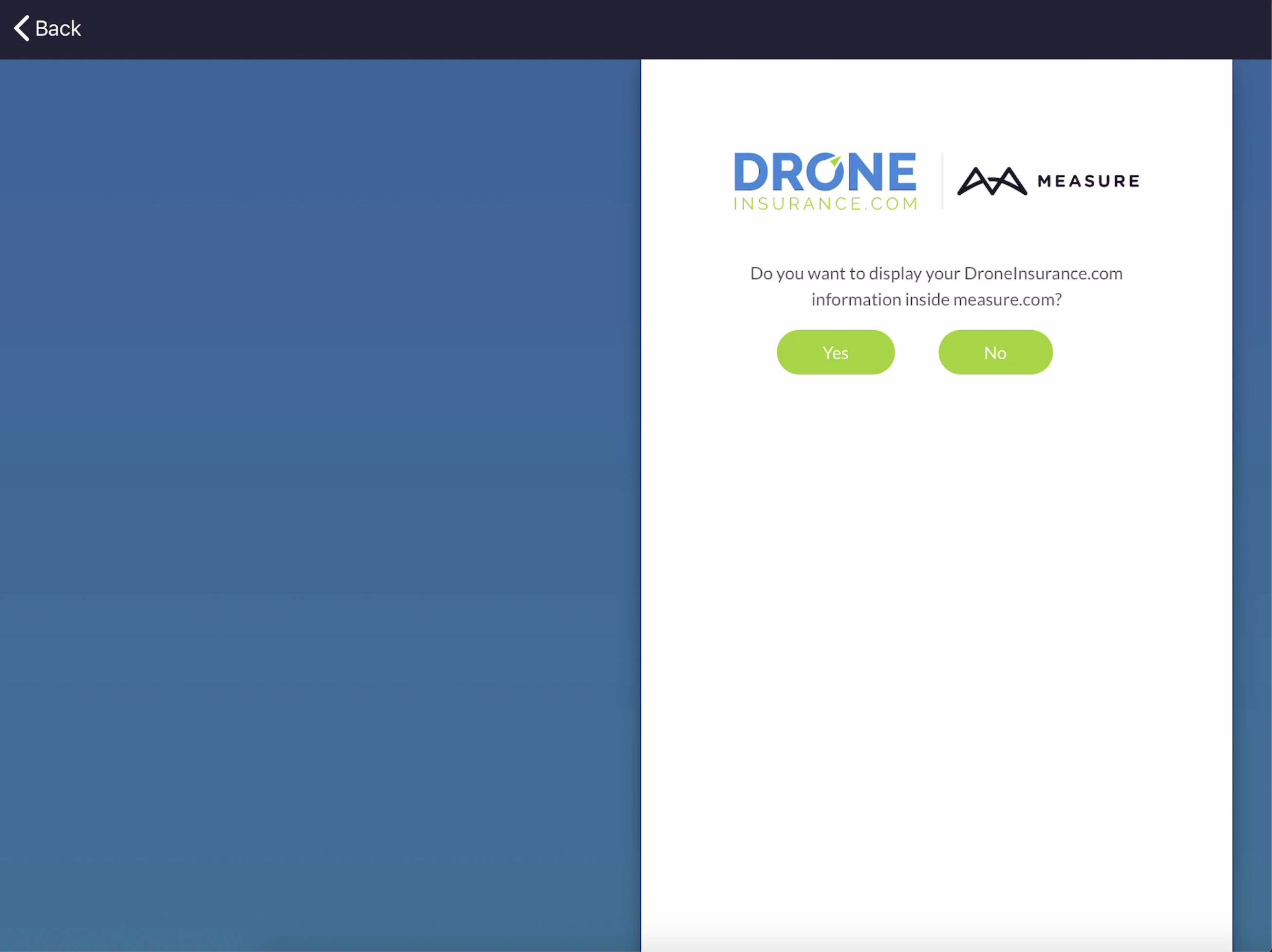 Measure Integration - DroneInsurance.com OAuth Confirmation - implemented